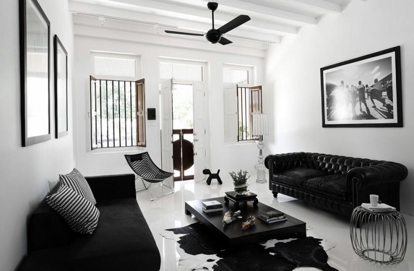 salon noir et blanc inspiration deco