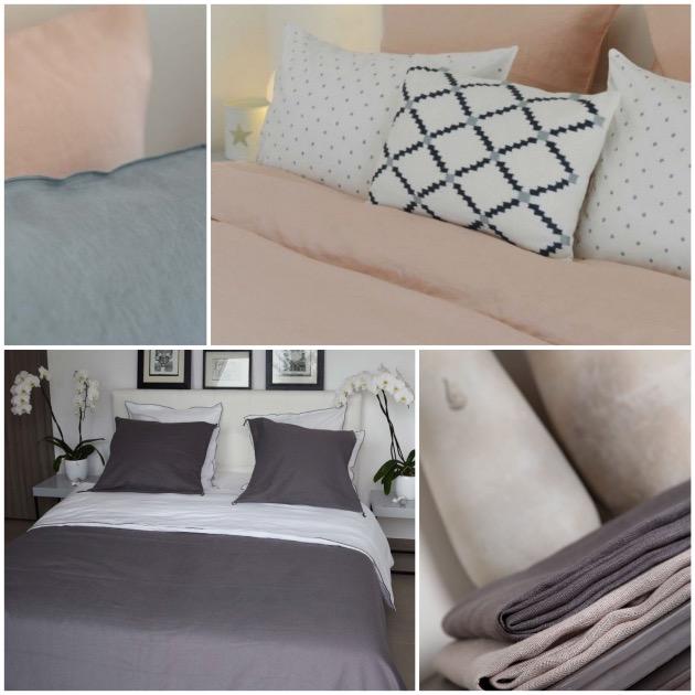 dessus de lit draps en lin deco chambre