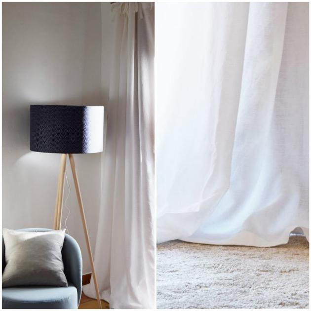 draps en lin rideaux blanc chic