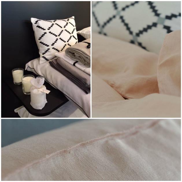 linge de lit draps en lin blanc bleu pas cher