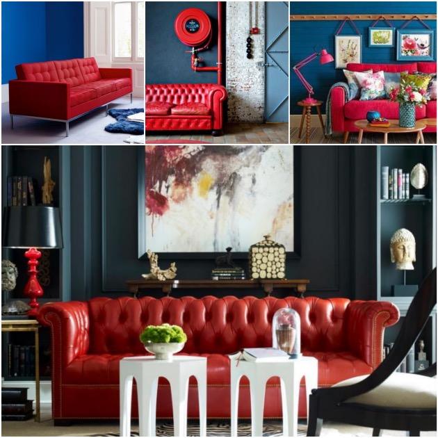 salon fauteuil rouge mur bleu pétrole - blog déco - clem around the corner