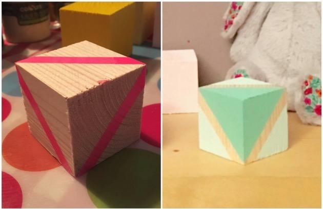 DIY cubes en bois tutoriel peinture