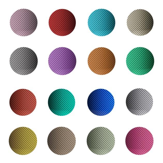 Palette des couleurs disponibles pour la chaise Halo par Hypetex. Bien sûr sur demande la fibre de carbone peut être désormais fabriquée dans n'importe quelle référence Pantone.
