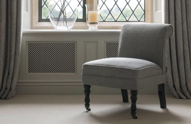 fauteuil style anglais roues crapeau laine gris
