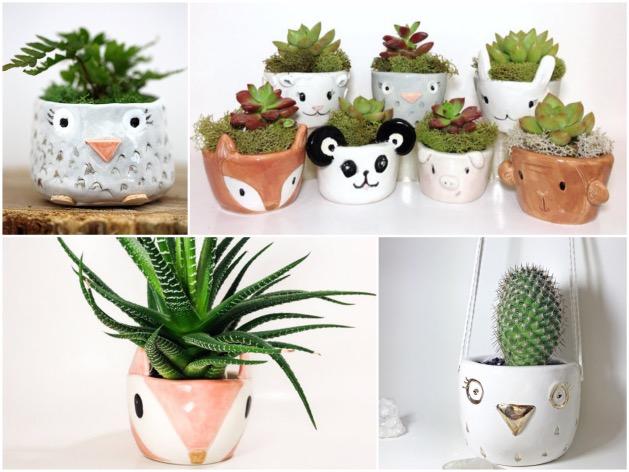 pot pour cactus en forme d'animal