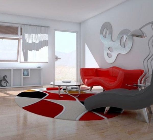 salon canape rouge idee moderne