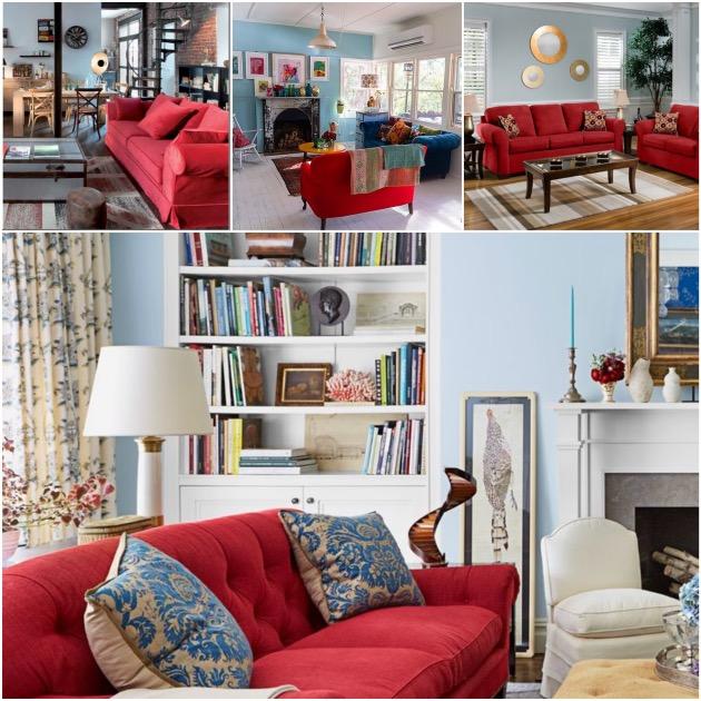 salon  mur bleu gris poussiéreux style anglais maison de campagne