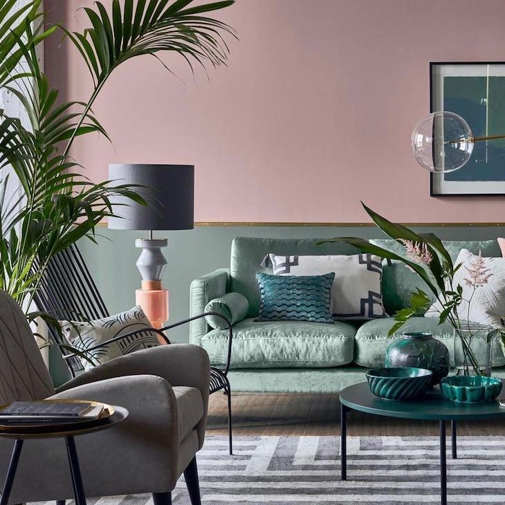 peindre soubassement bois mur bicolore rose vert de gris kaki laiton -  Clem Around The Corner Blog déco
