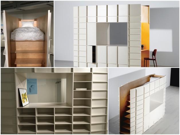 Gilles Belley meuble studio étudiant module lit bibliothèque cube bureau