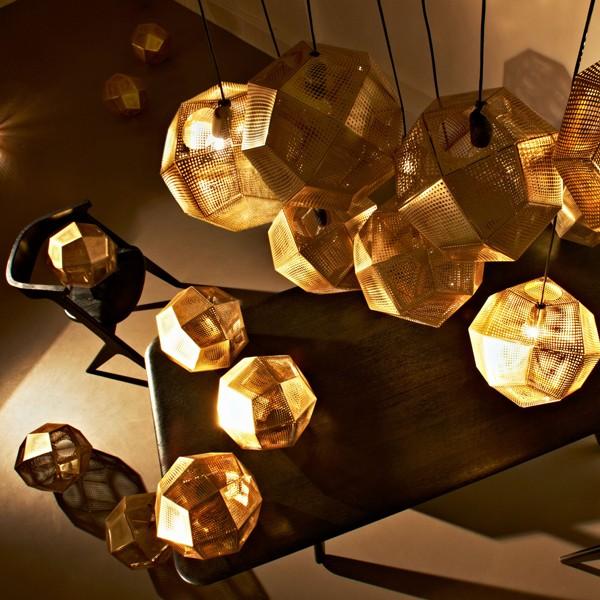 plafonnier alvéole haxagonal doré