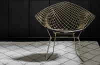Chaise dorée fauteuil harry Bertoia Knoll diamond