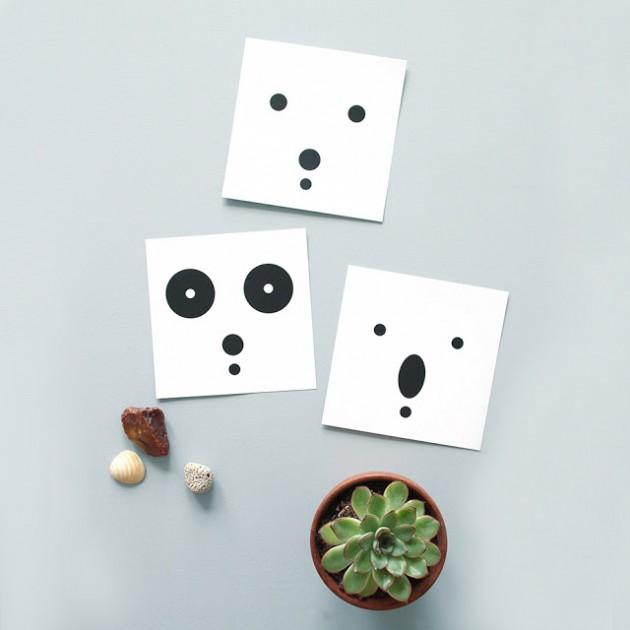 carte visage silhouette ours noir et blanc