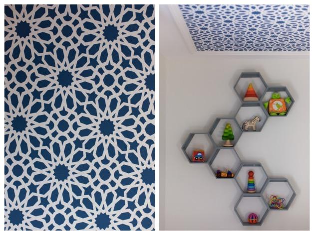 étagere hexagone bibliothèque papier peint