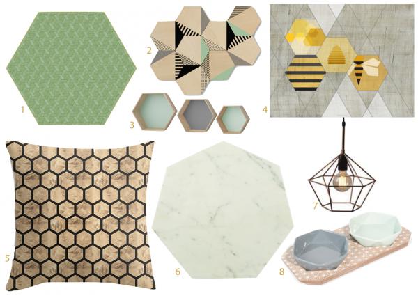décoration forme alvéole hexagonale