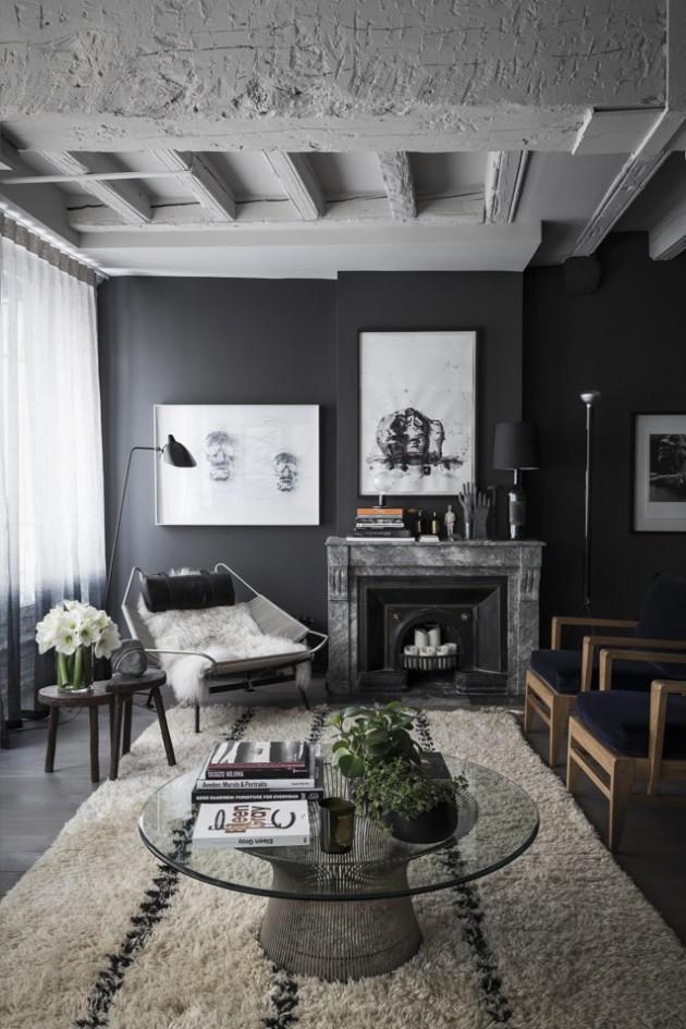 intérieur aux murs noirs