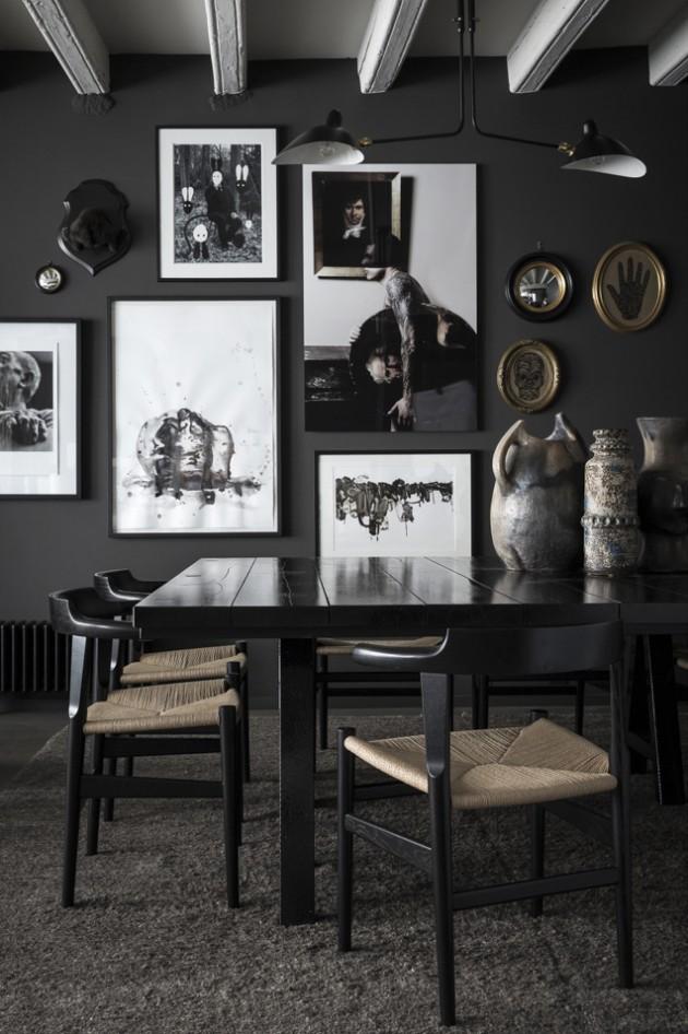 salle à manger scandinave murs noirs