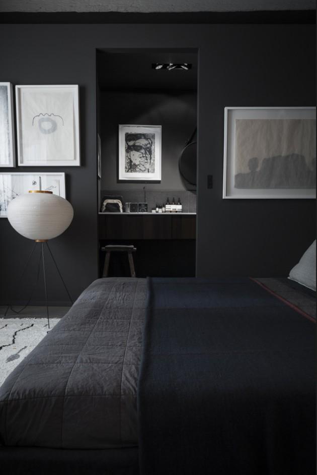chambre parentale peinte murs noirs