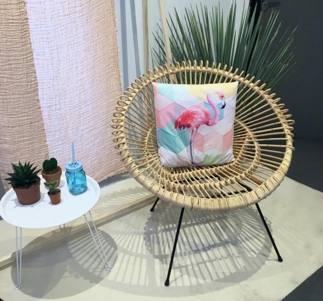 fauteuil rotin rond cactus