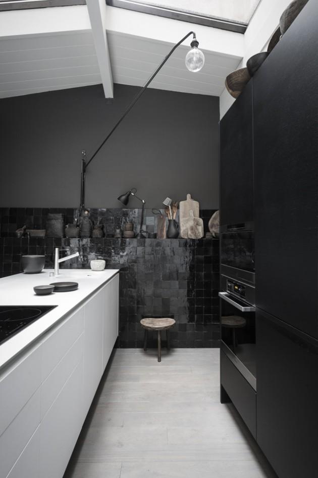 cuisine carrelage mur noir