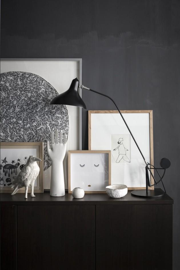 décoration murs noirs cadres