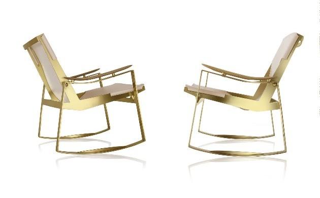 Jader Almeida rocking chair en laiton