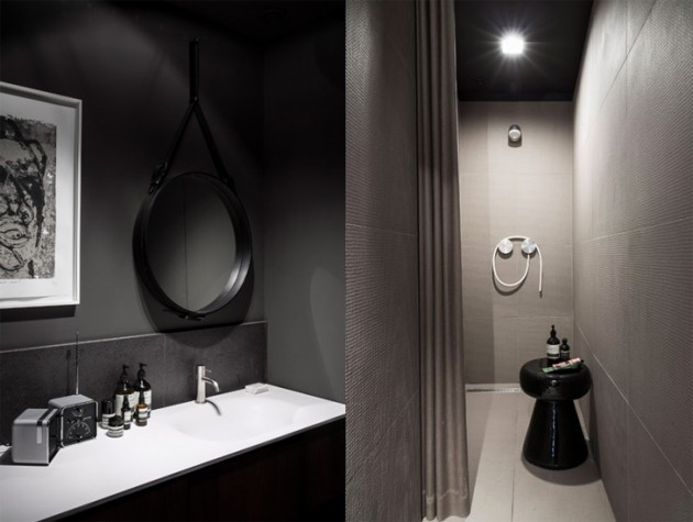 salle de bain carrelage noir
