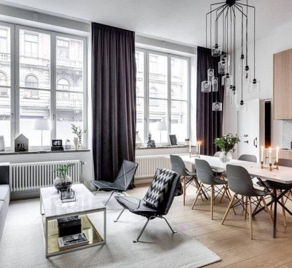 appartement scandinave séjour hauteur de plafond