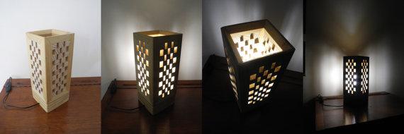 lampe fait main en bois