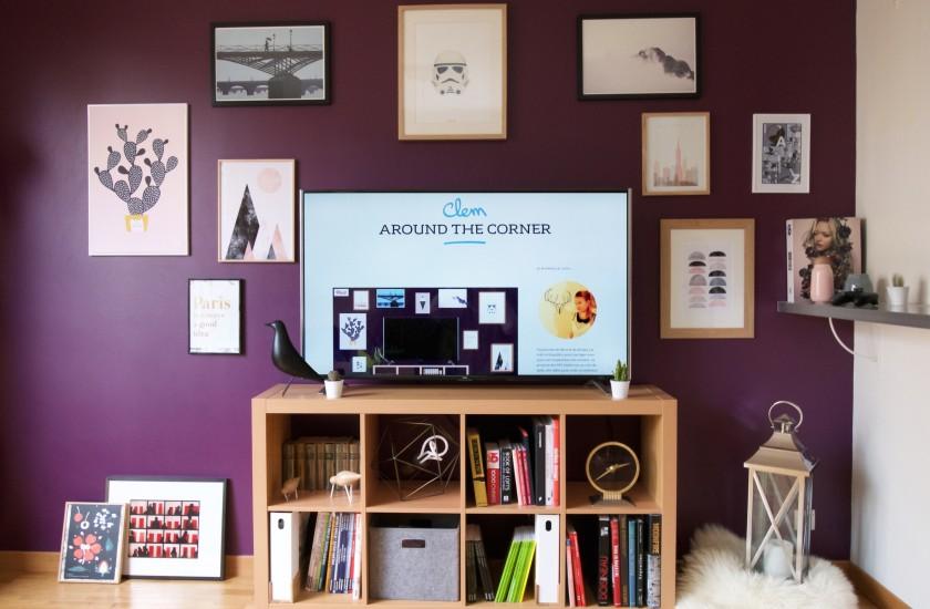 mur de cadre et t l vision blog deco clem around the. Black Bedroom Furniture Sets. Home Design Ideas
