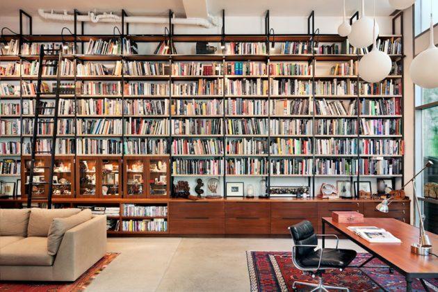 Atelier loft inspiration mur de livres