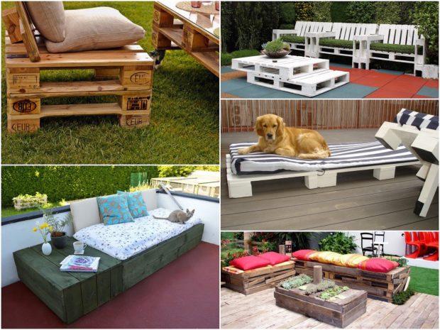 meuble en palette canapé terrasse lit de jardin en bois méridienne