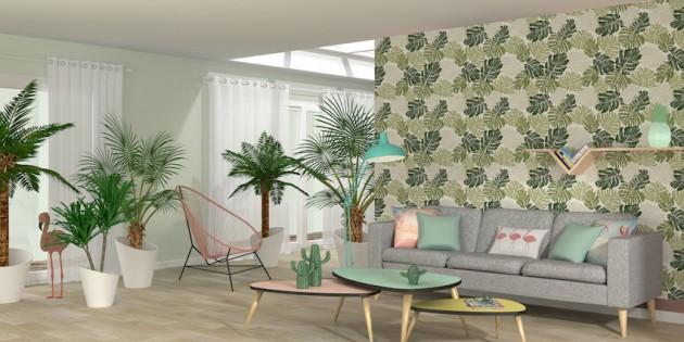 salon style jungle fauteuil scoubidou rose