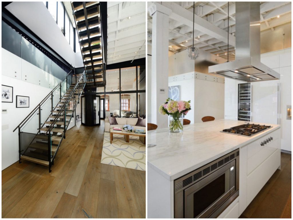salle à manger design dans loft blanc Atelier loft