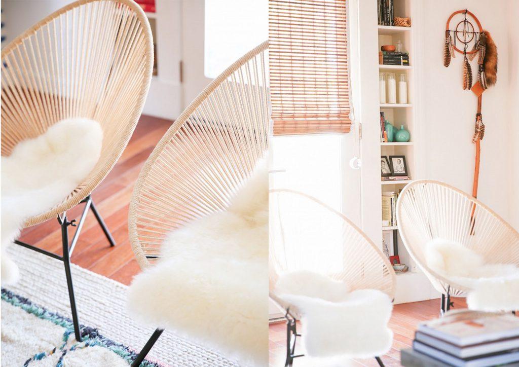 fauteuil scoubidou intérieur salon scandinave