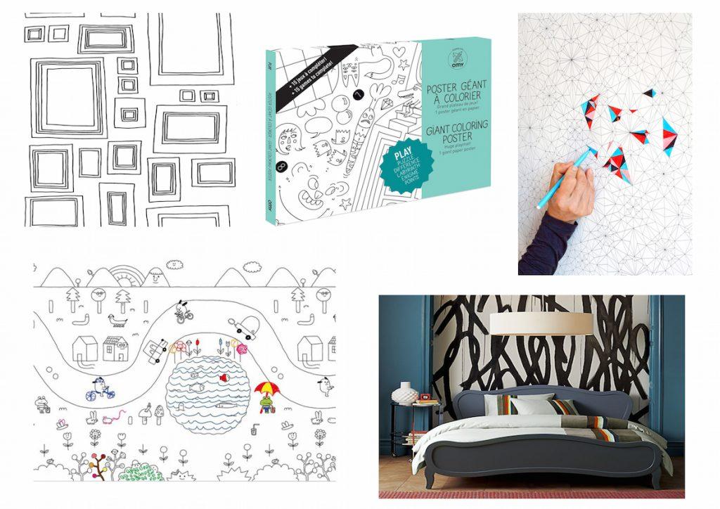 Papier peint à colorier dessiner