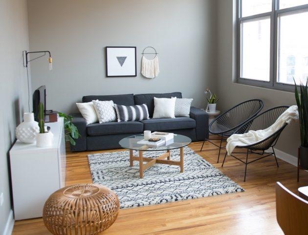 appartement salon gris et blanc au style scandinave