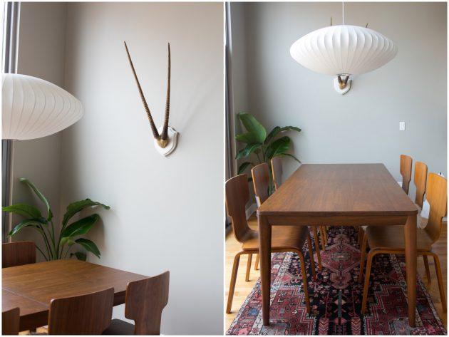salle à manger deco boheme epure minimaliste vintage chaise bois 60s