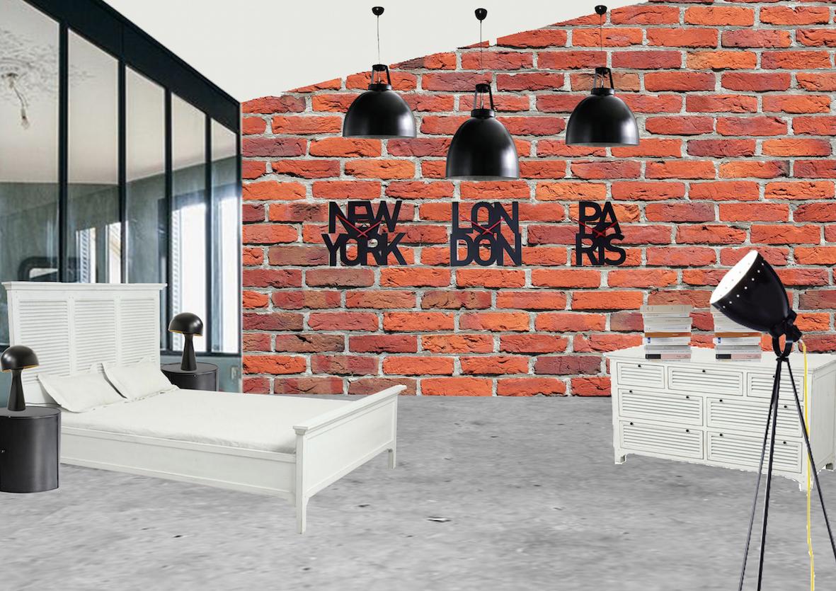 chambre décoration mix and match industriel tranditionnelle