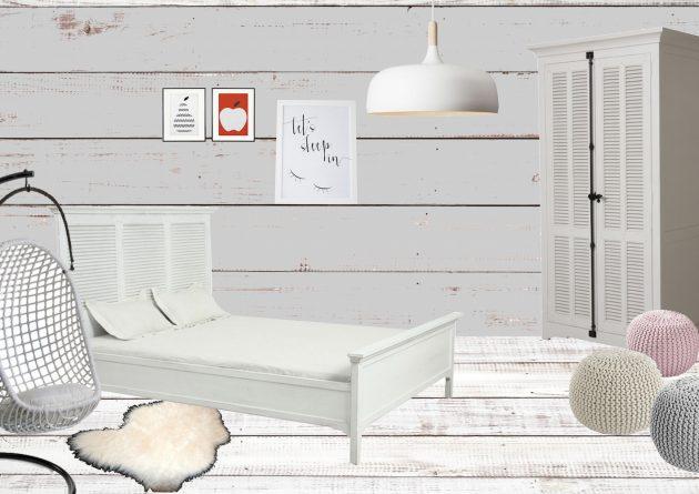 chambre toute blanche parquet blanchi décoration scandinave