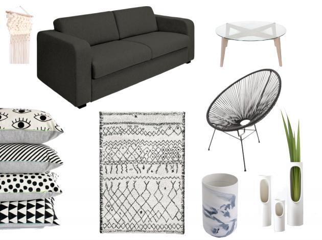 Salon gris et blanc blog d coration d 39 int rieur clem around the corner - Idee deco salon noir blanc gris ...