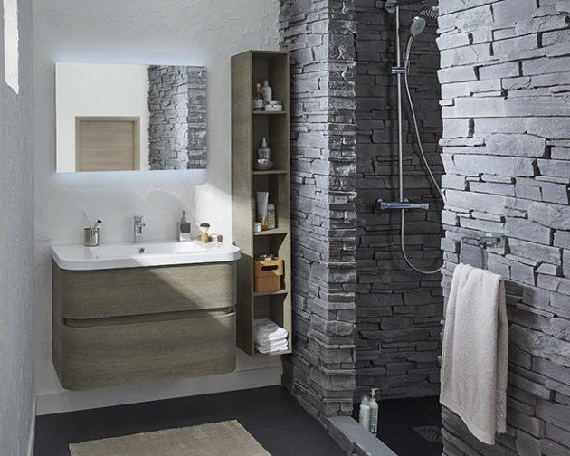 salle de douche carrelage relief effet ardoise idée décoration chalet - clem around the corner