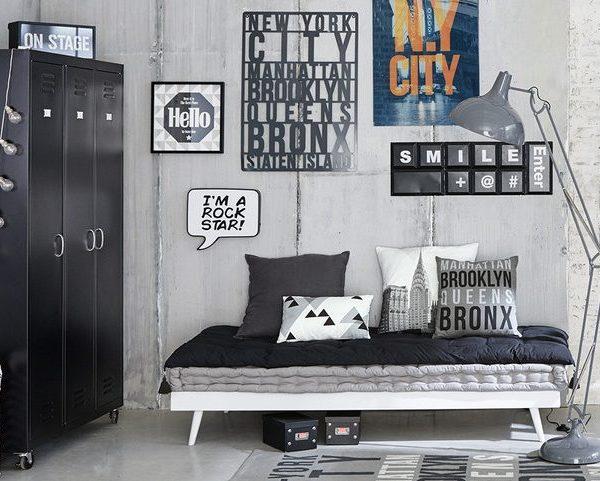 Idée déco chambre garçon style industriel scandinave