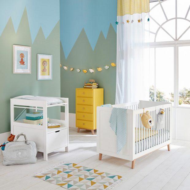 Idée déco chambre garçon vert bleu jaune