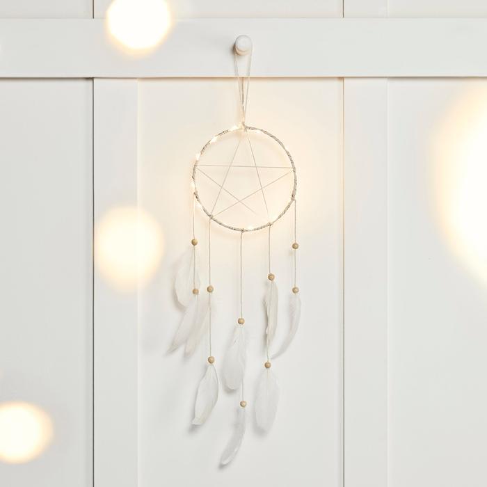 Attrape rêve lumineux veilleuse plume guirlande ked - blog décoration - clem around the corner