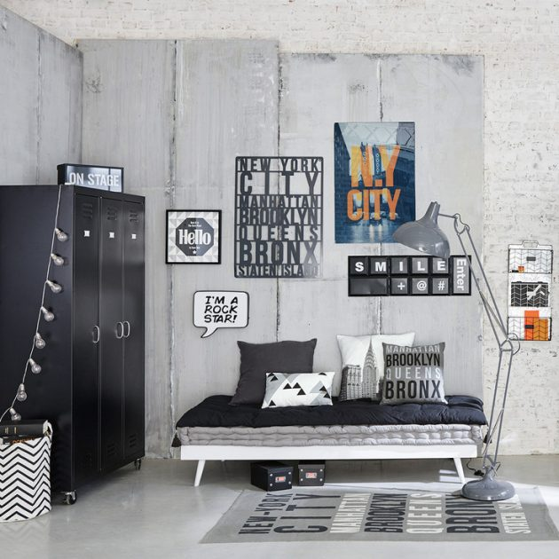 Id e d co chambre gar on blog deco clem around the corner - Deco noir et blanc chambre ...