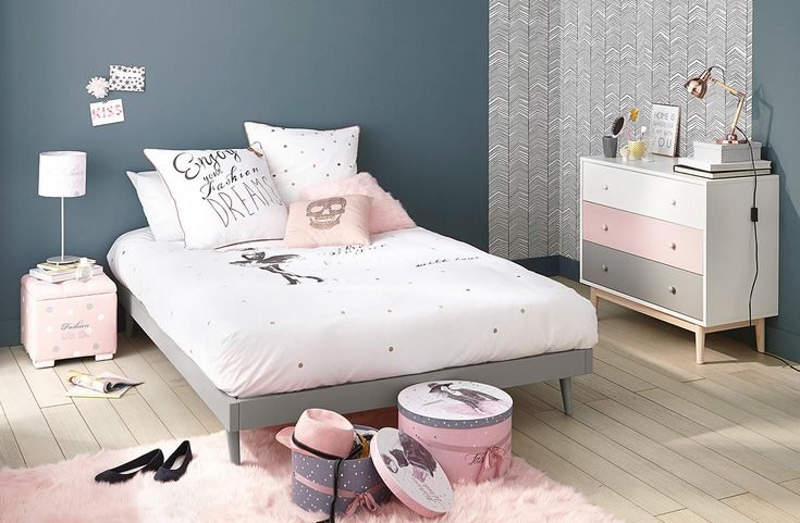 Id e d co chambre fille blog deco clem around the corner - Chambre fille gris et rose ...