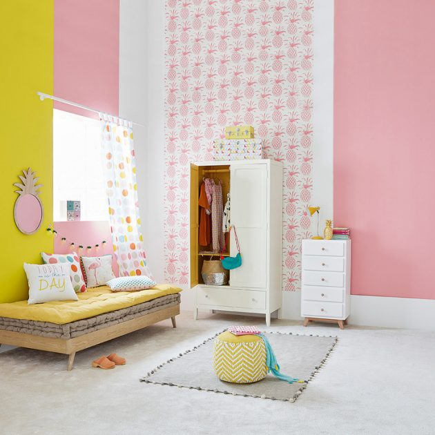 Id e d co chambre fille blog deco clem around the corner - Papier peint bebe fille ...