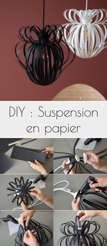 suspension lampe origami papier design à faire soi-meme clemaroundthecorner