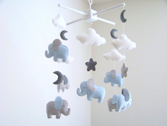 mobile enfants diy nuage elephant