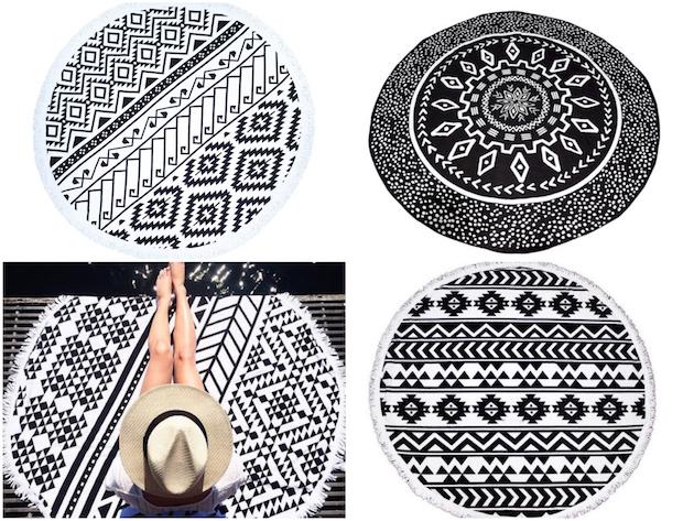 serviette de plage ronde noire et blanche motif ethnique bon plan